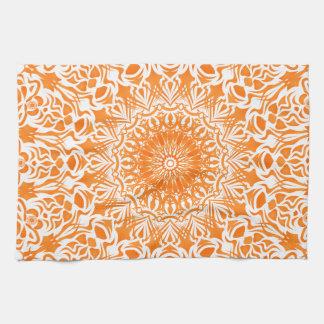 Tribal Mandala Orange Tea Towel