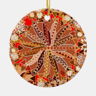 Tribal Mandala Print, Brown, Beige and Red Christmas Ornament