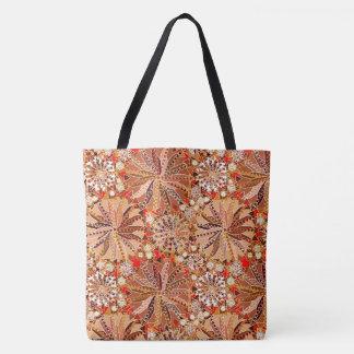 Tribal Mandala Print, Brown, Beige and Red Tote Bag