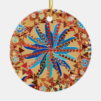 Tribal Mandala Print, Camel Tan and Denim Blue Christmas Ornament
