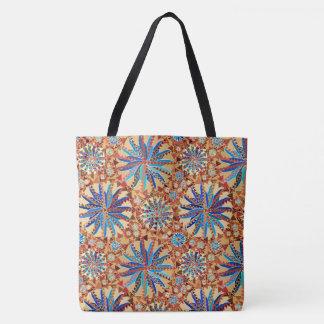 Tribal Mandala Print, Camel Tan and Denim Blue Tote Bag
