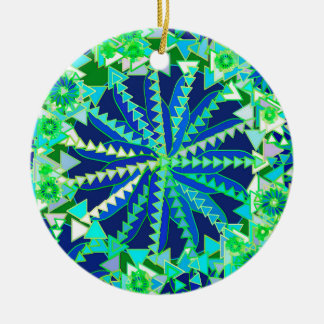 Tribal Mandala Print, Cobalt Blue and Green Christmas Ornament