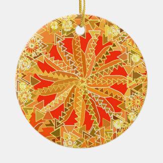 Tribal Mandala Print, Mustard Gold and Orange Christmas Ornament