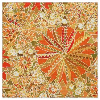 Tribal Mandala Print, Mustard Gold and Orange Fabric