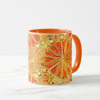 Tribal Mandala Print, Mustard Gold and Orange Mug