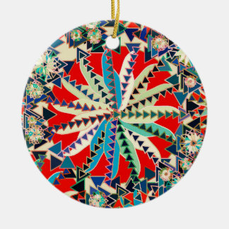 Tribal Mandala Print, Red, Blue and Cream Christmas Ornament