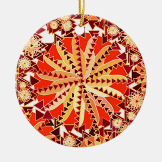 Tribal Mandala Print, Rust Orange and Brown Christmas Ornament