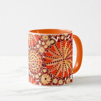 Tribal Mandala Print, Rust Orange and Brown Mug
