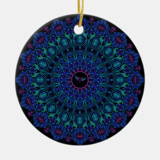 Tribal Manta Mandala on Black Christmas Ornament