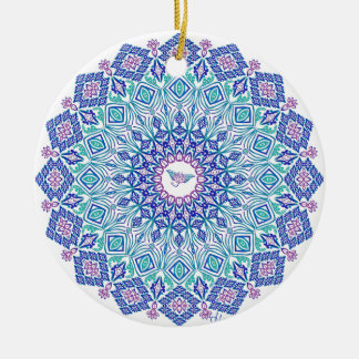 Tribal Manta Mandala on White Christmas Ornament
