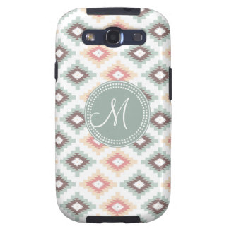 Tribal Mint and Pink Monogram Pattern Galaxy SIII Cases