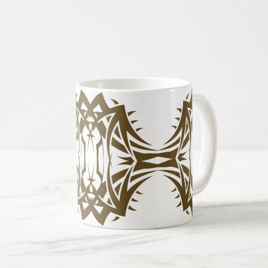 Tribal mug 14 gold to over white