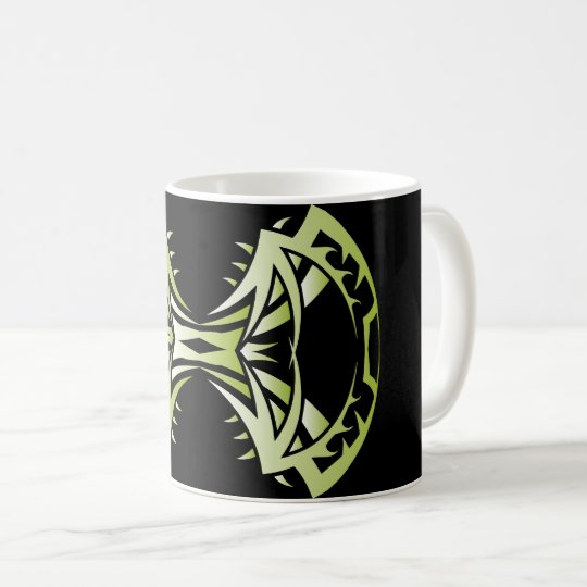 Tribal mug 14 single green to over black