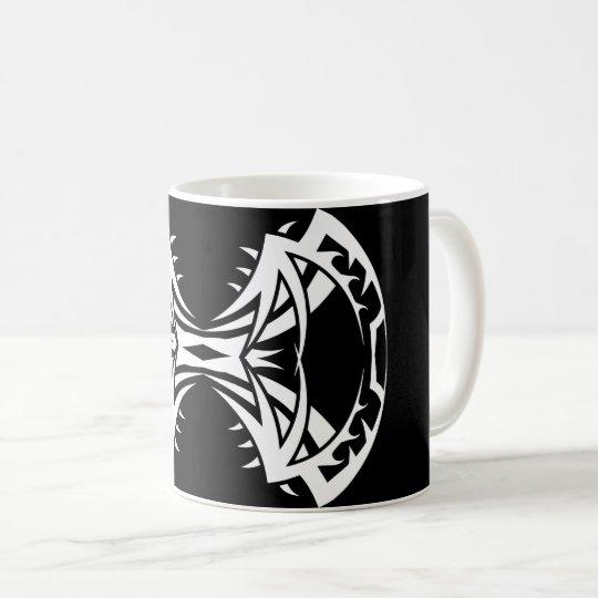 Tribal mug 14 single white to over black
