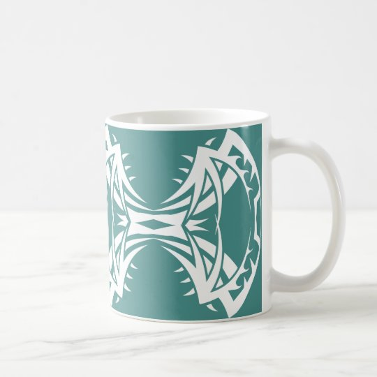 Tribal mug 14 white to over blue