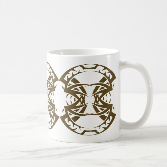 Tribal mug 15 gold to over white