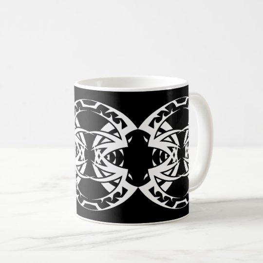 Tribal mug 15 white to over black