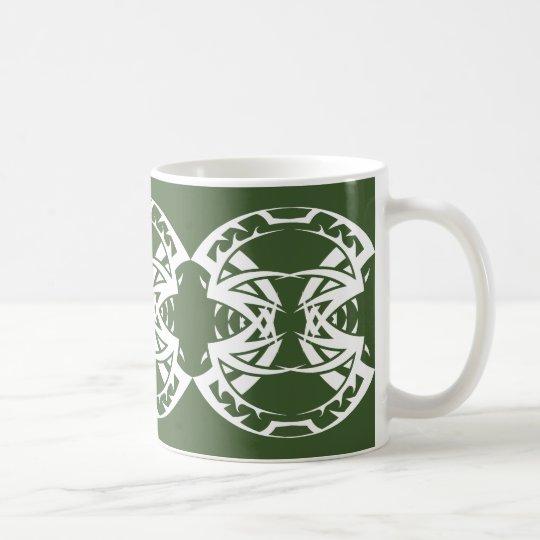 Tribal mug 15 white to over green