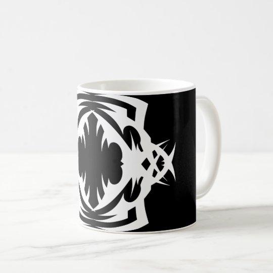 Tribal mug 16 white to over black