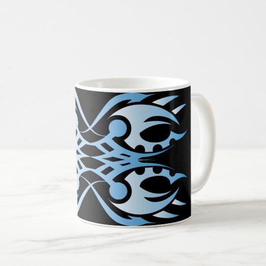 Tribal mug 18 blue over black