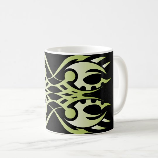 Tribal mug 18 green to over black