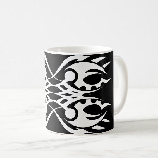 Tribal mug 18 white to over black