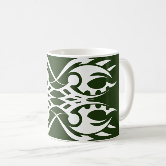 Tribal mug 18 white to over green