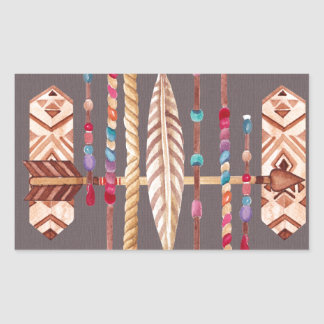 Tribal Native Beads Arrows Rope Pattern Collage Rectangular Sticker