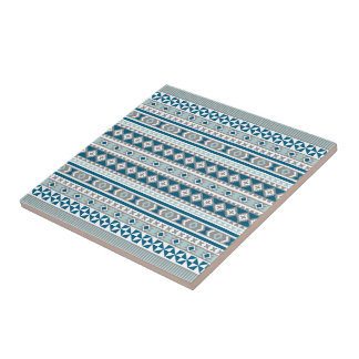 Tribal Navajo Blanket Pattern Green Blue and Grey Small Square Tile