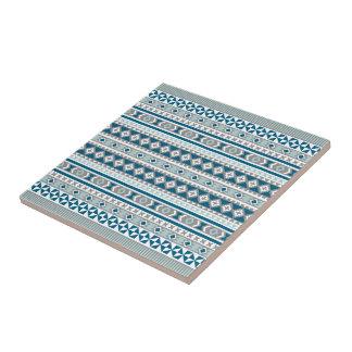 Tribal Navajo Blanket Pattern Green Blue and Grey Tile