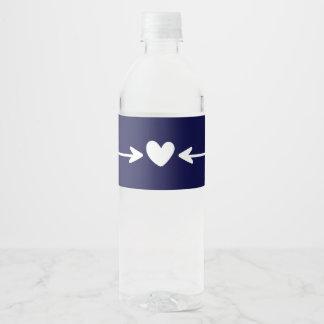 Tribal Navy Blue Hearts & Love Arrows Wedding Water Bottle Label