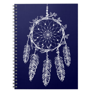 Tribal Navy Blue Native American Dream Catcher Notebooks
