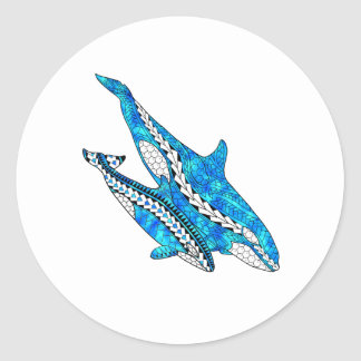 Tribal Orca Whales Classic Round Sticker