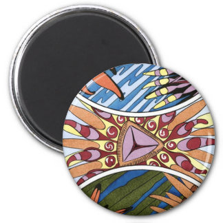Tribal Organic Plant Print 6 Cm Round Magnet