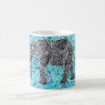 Tribal paisley boho elephant blue turquoise basic white mug