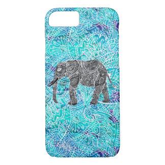 Tribal paisley boho elephant blue turquoise iPhone 8/7 case