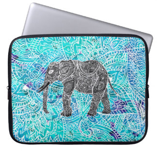 Tribal paisley boho elephant blue turquoise laptop sleeve