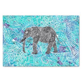 Tribal paisley boho elephant blue turquoise tissue paper
