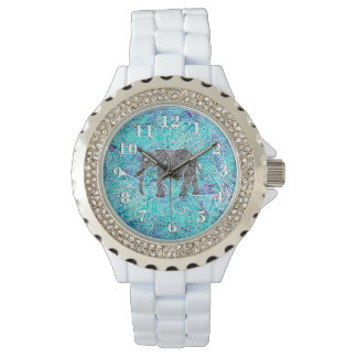Tribal paisley boho elephant blue turquoise watch
