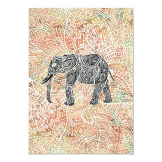 Tribal Paisley Elephant Colorful Henna Pattern 13 Cm X 18 Cm Invitation Card