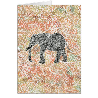 Tribal Paisley Elephant Colorful Henna Pattern Card