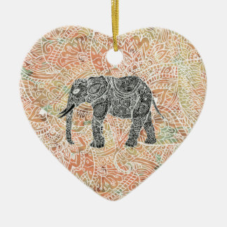 Tribal Paisley Elephant Colorful Henna Pattern Christmas Ornament