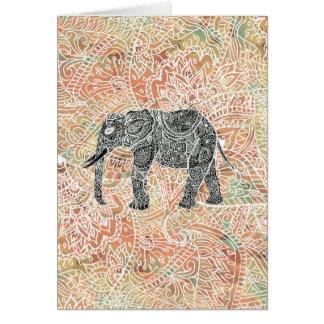 Tribal Paisley Elephant Colorful Henna Pattern Greeting Card