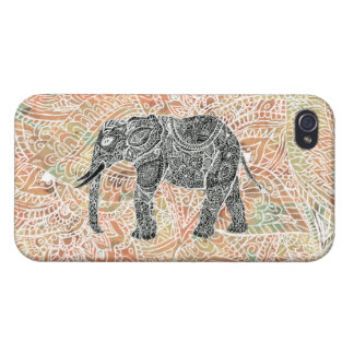 Tribal Paisley Elephant Colorful Henna Pattern iPhone 4 Cases