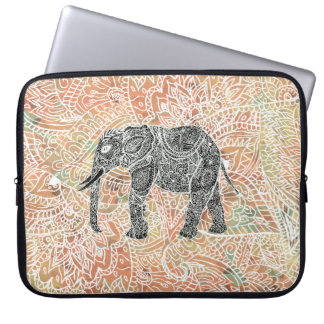Tribal Paisley Elephant Colorful Henna Pattern Laptop Sleeve