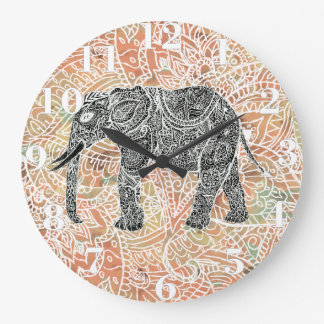 Tribal Paisley Elephant Colorful Henna Pattern Large Clock