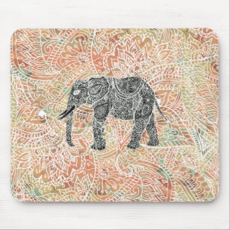 Tribal Paisley Elephant Colorful Henna Pattern Mouse Mat