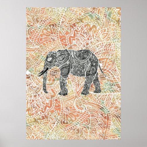 Tribal Paisley Elephant Colorful Henna Pattern Print