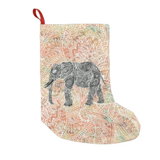 Tribal Paisley Elephant Colorful Henna Pattern Small Christmas Stocking
