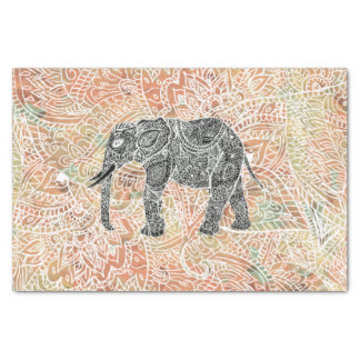 Tribal Paisley Elephant Colorful Henna Pattern Tissue Paper
